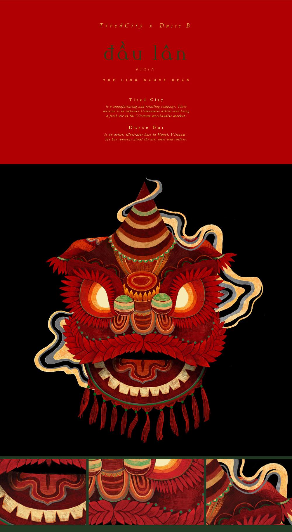 Đầu lân The Lion Dance Head on Behance Chinese lion