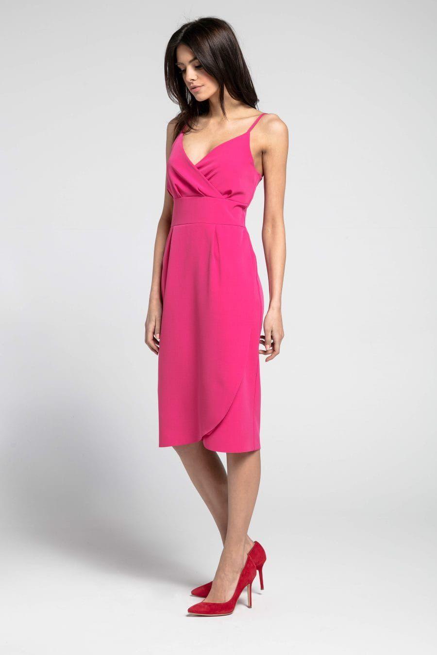 Dopasowana Sukienka Na Ramiaczkach Fuksja Na1033 Fitted Midi Dress Midi Dress Dresses