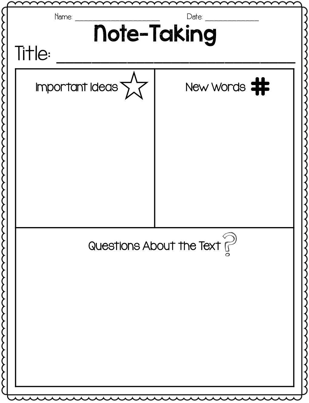 Great Freebie For Note Taking Close Reading