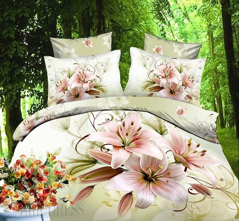 Photo of 2014 Top-selling Flower Print 4 Piece Duvet Cover Sets  3D B…