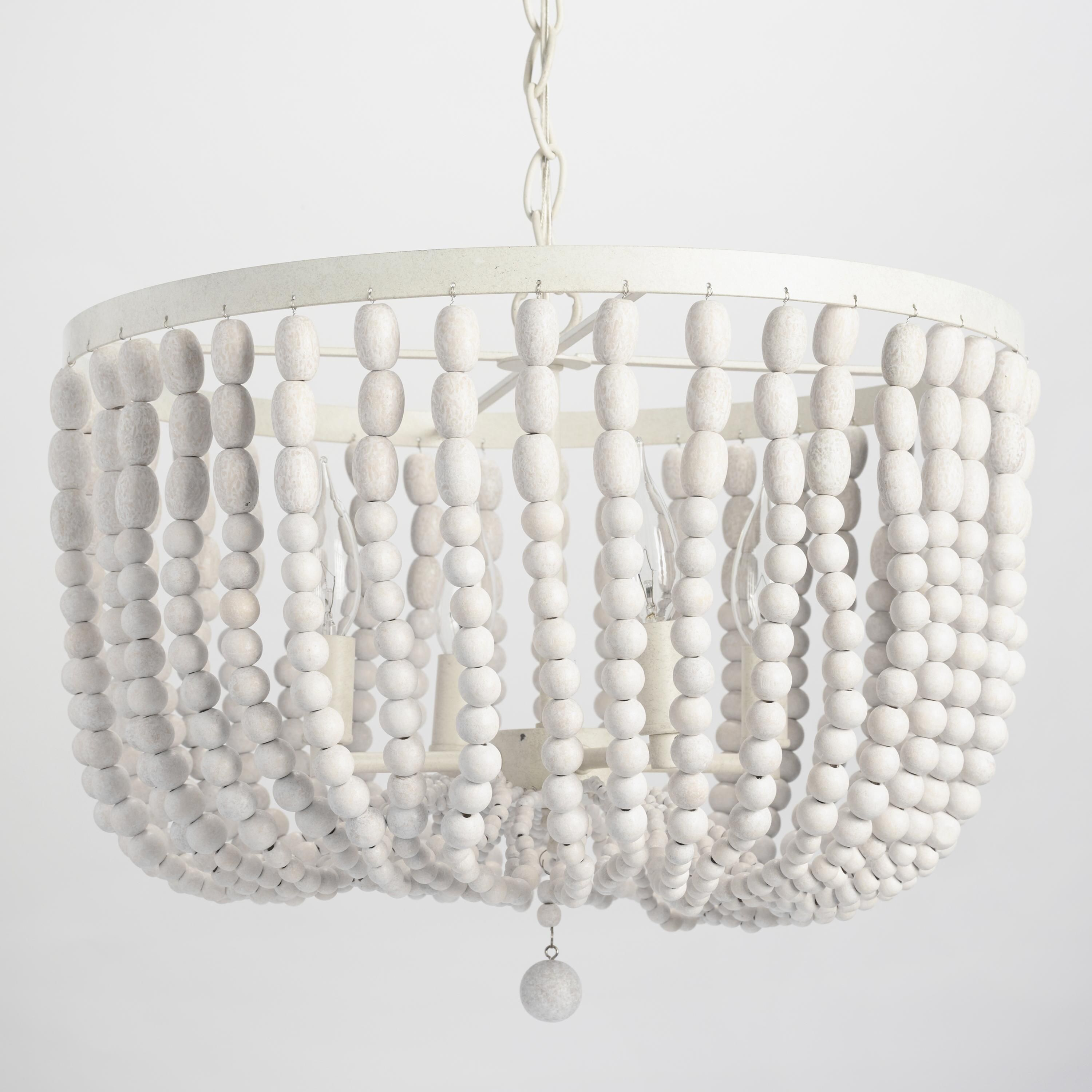 Antique Whitewash Wood Bead Chandelier LIGHTING