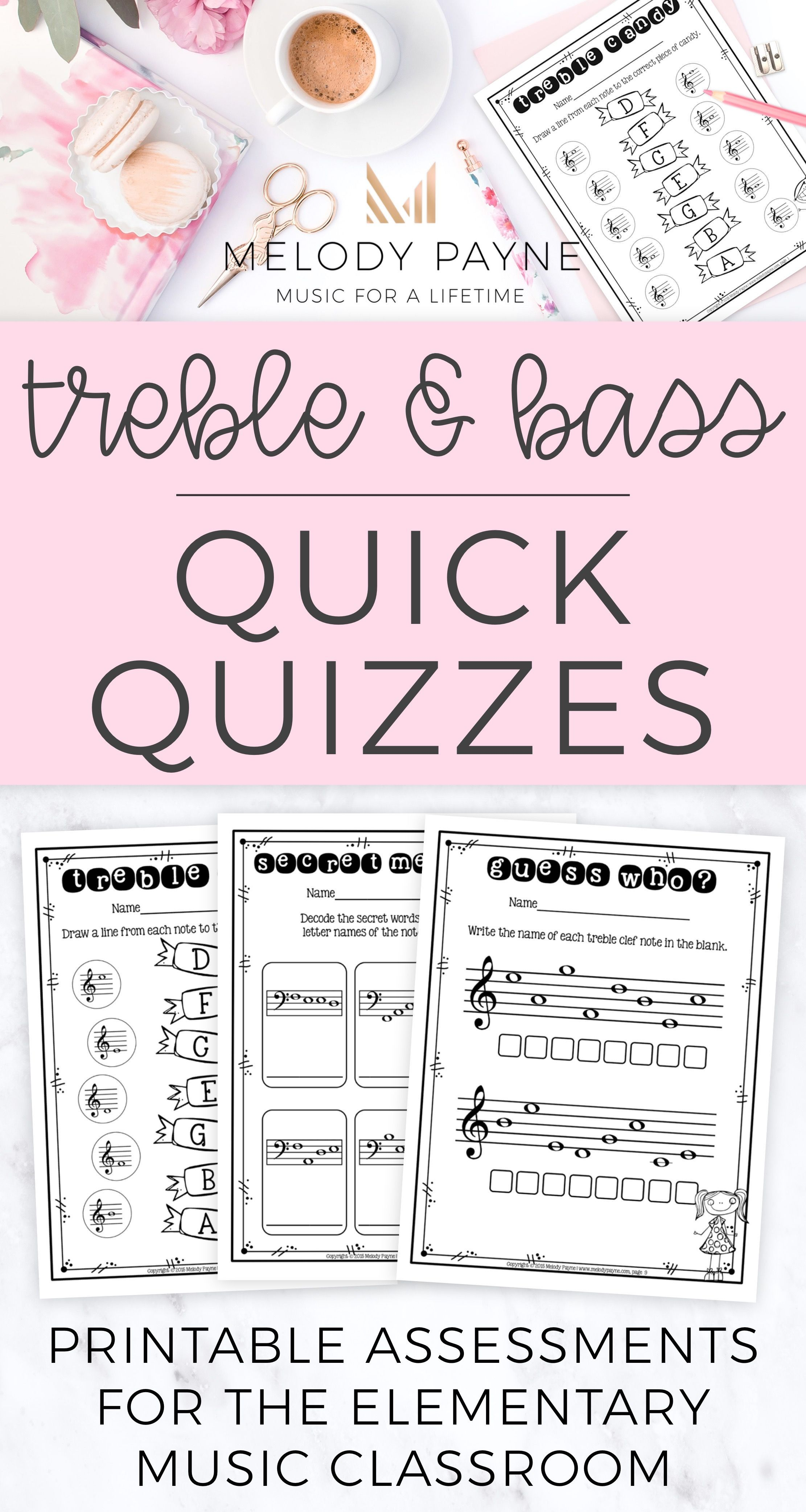20 Treble Amp Bass Clef Quick Quizzes For Elementary Music