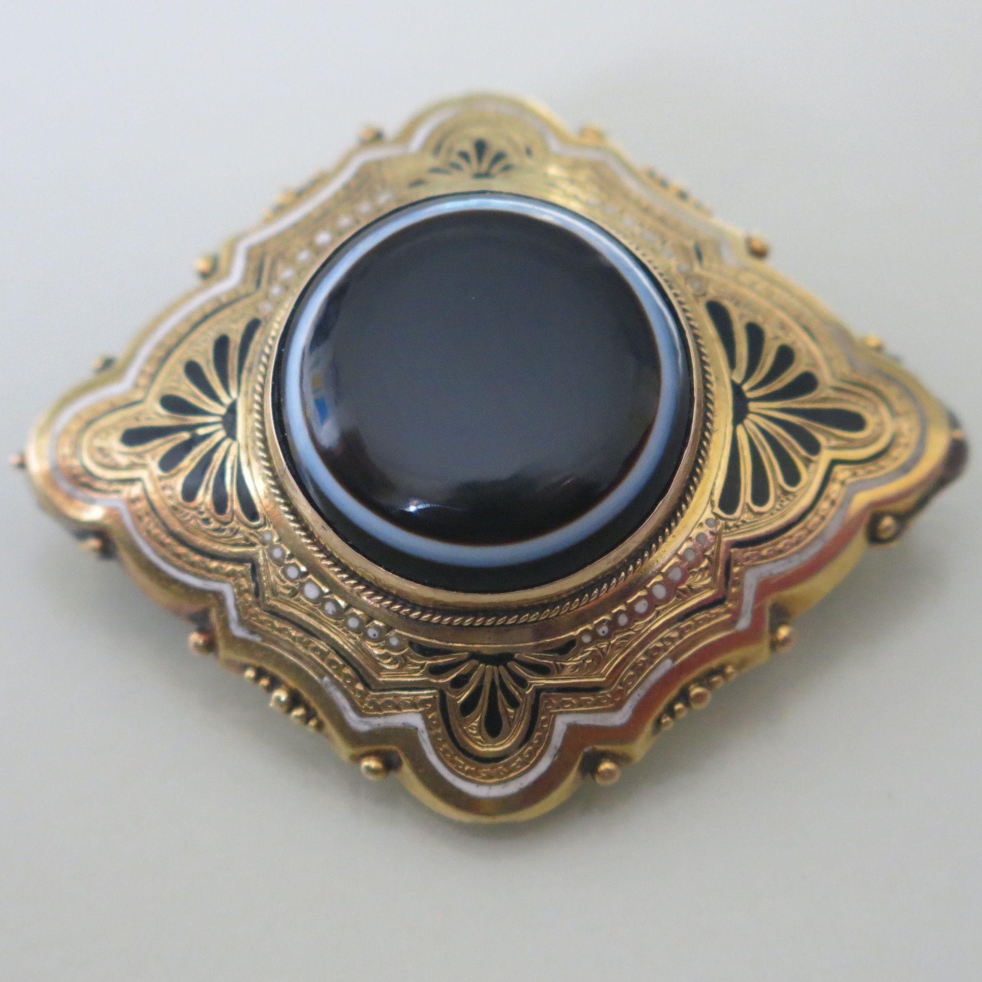 Antique Victorian Mourning Bullseye Agate Enamel Brooch Pin