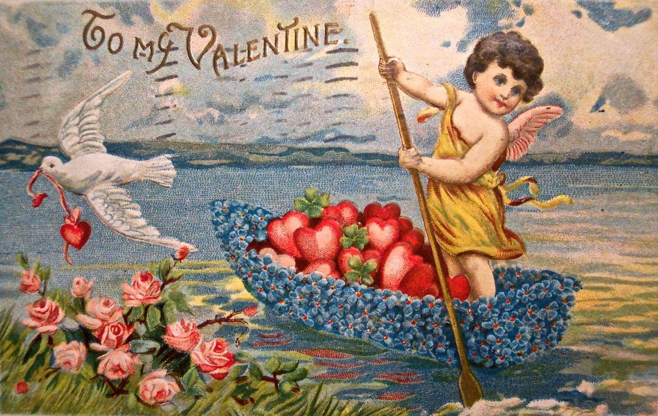 Надписи, старые открытки с днем валентина