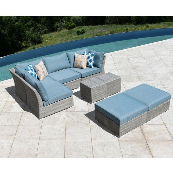 Our Best Patio Furniture Deals, Corvus 8 Piece Grey Wicker Patio Furniture Set With Blue Cushions