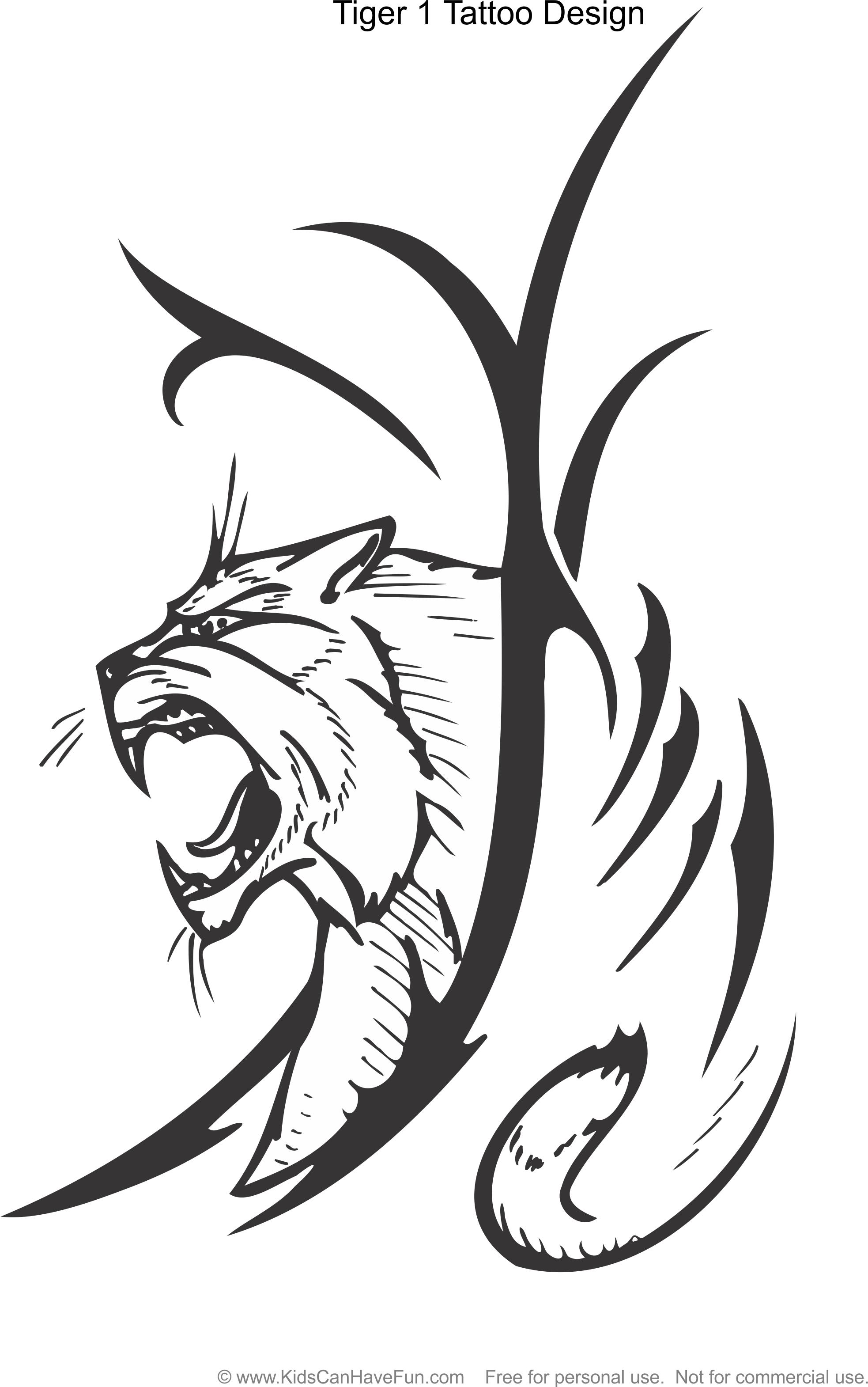 Tiger 1 Tattoo Design Coloring Page Kidscanhavefun Coloringhtm Color