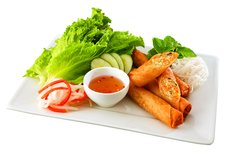 Order egg rolls as an appetizer from Pho Factory.