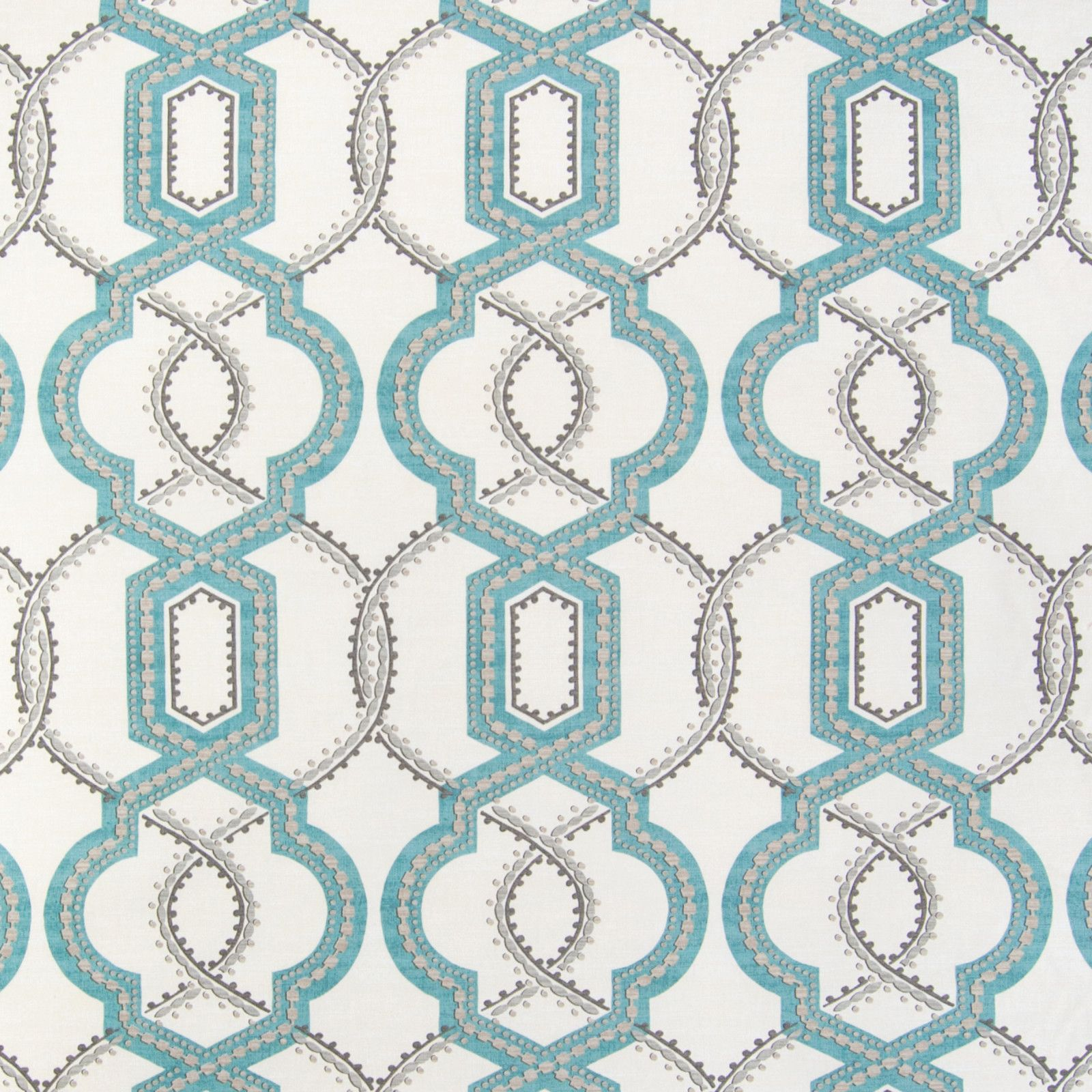 Glacier Teal And Blue Geometric Made In Usa Upholstery Fabric
