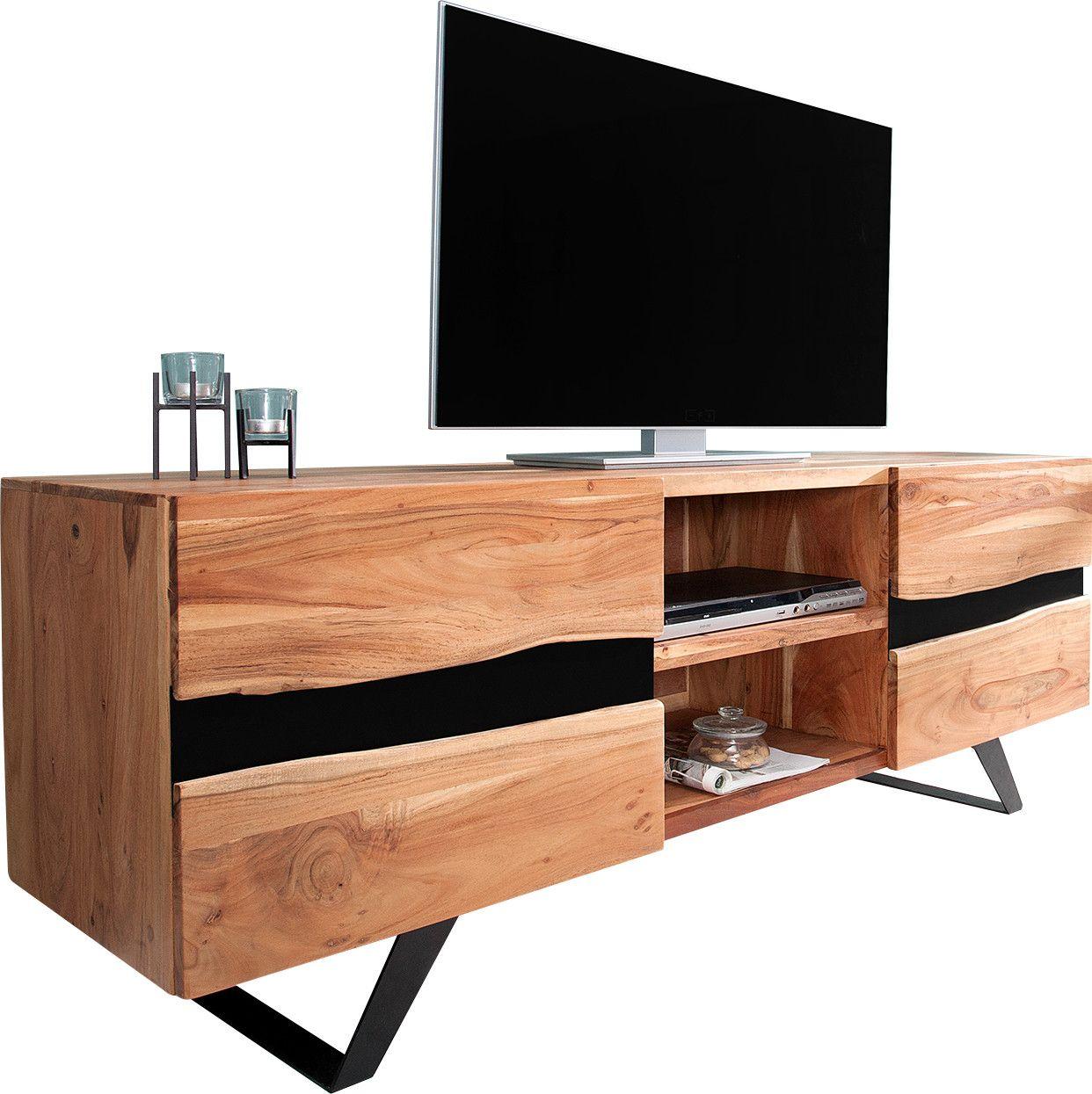 Meuble Tv 160 Cm A 2 Portes Et 2 Niches En Bois Massif Acacia Et