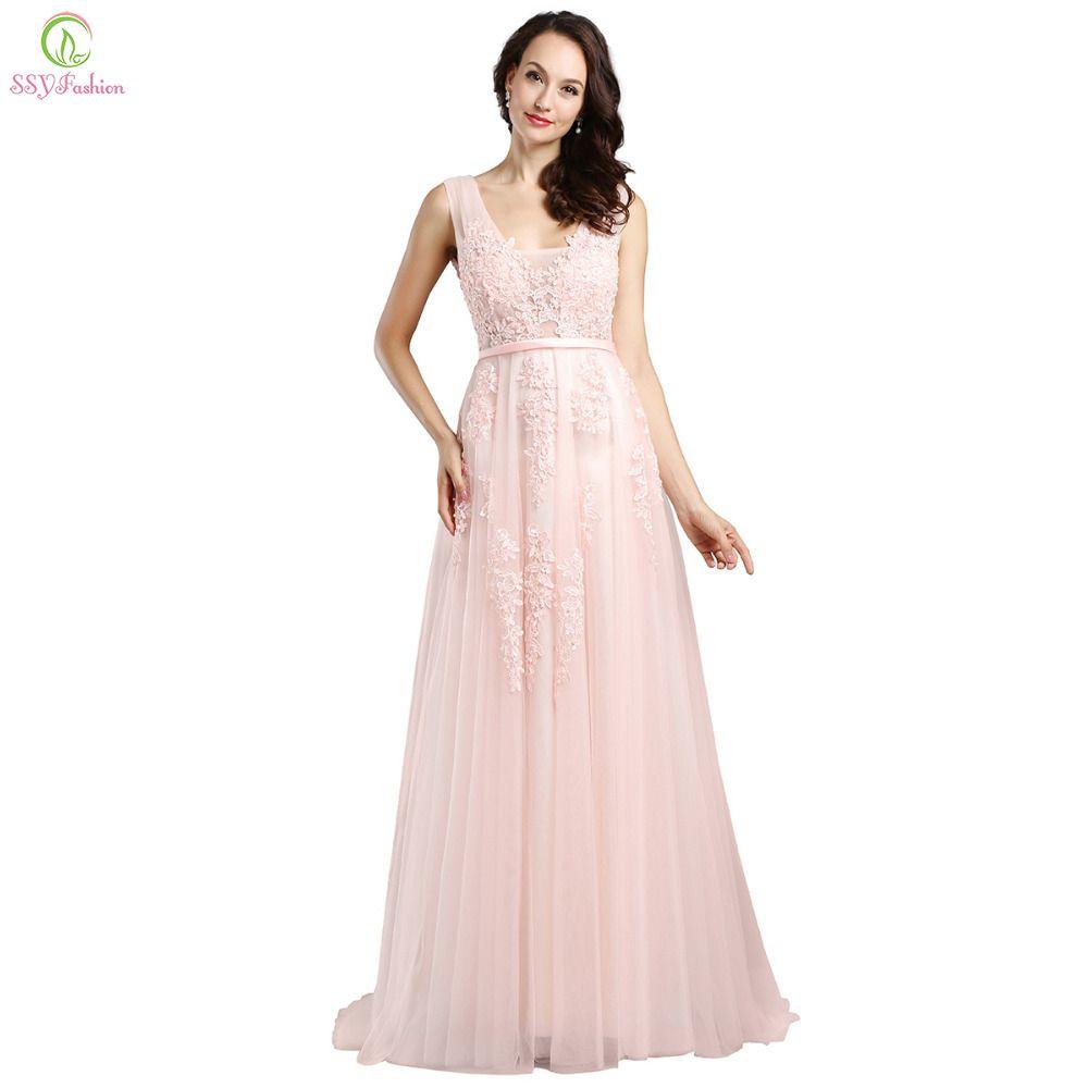 Vestido de noiva ssyfashion long pink lace evening dresses bride