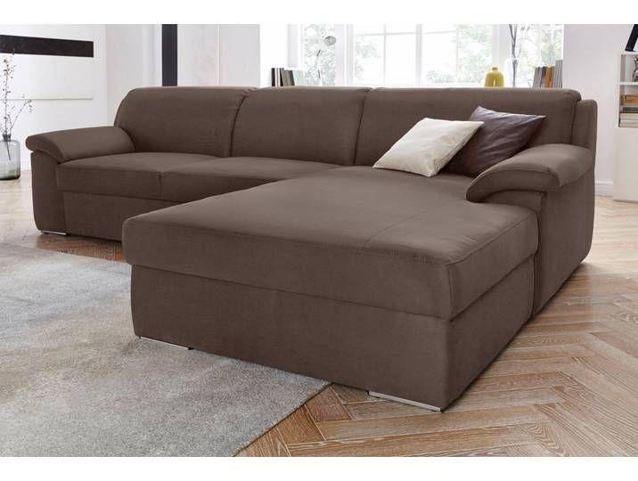 Domo Collection Eck Sofa Mit Schlaffunktion Braun Stoff