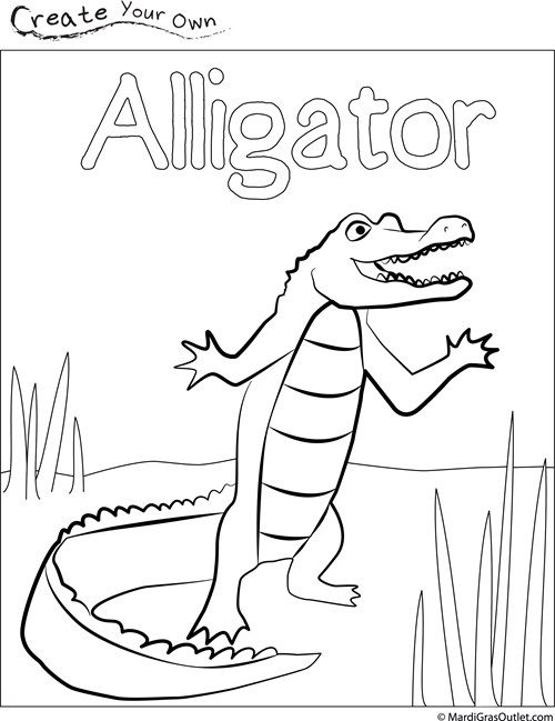 Alligator Coloring Page | Mardi gras outlet, Alligators and Mardi gras