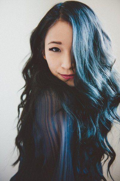 Ulzzang Ulzzang Girl Ulzzang Inspiration Cute Girl Cute Asian Hair Ulzzang Hair Style Blue Ombre Hair Blue Hair Hair Inspiration
