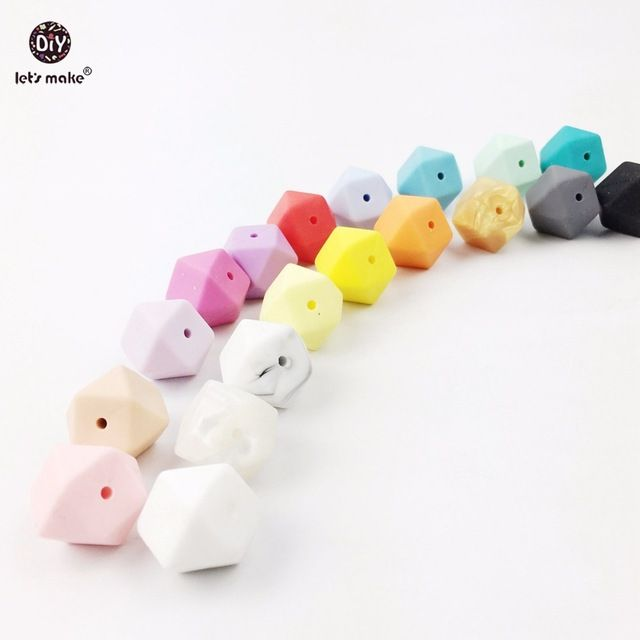5pcs Baby Nursing Teether Silicone Octagonal Beads Chew DIY Jewelry Teether Toy