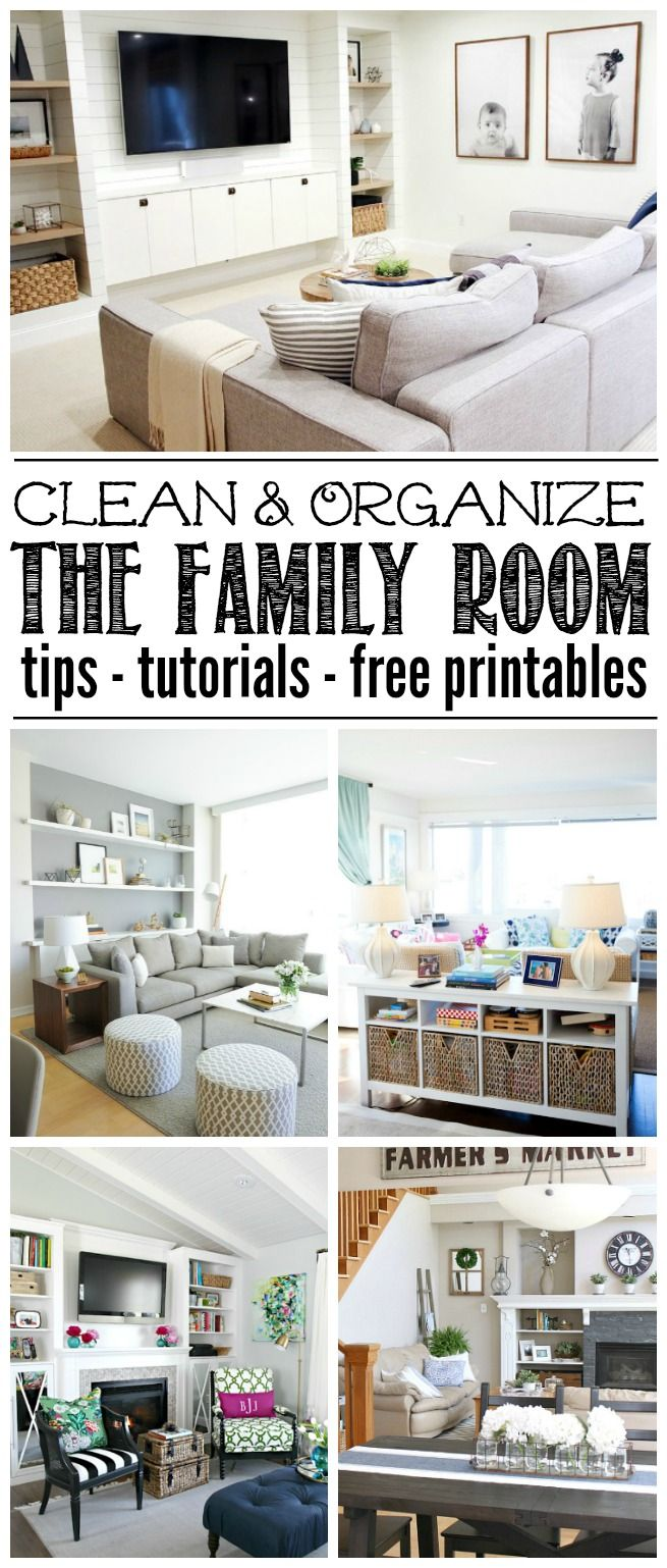 Great ideas to help you organize the family room or living room. Free printables included to help keep you on track!