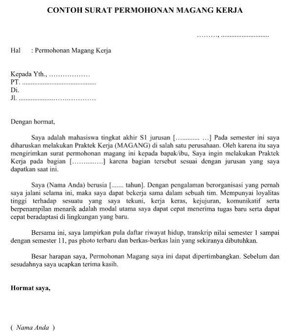Contoh Surat Permohonan Magang Kerja Yang Resmi Baik Dan