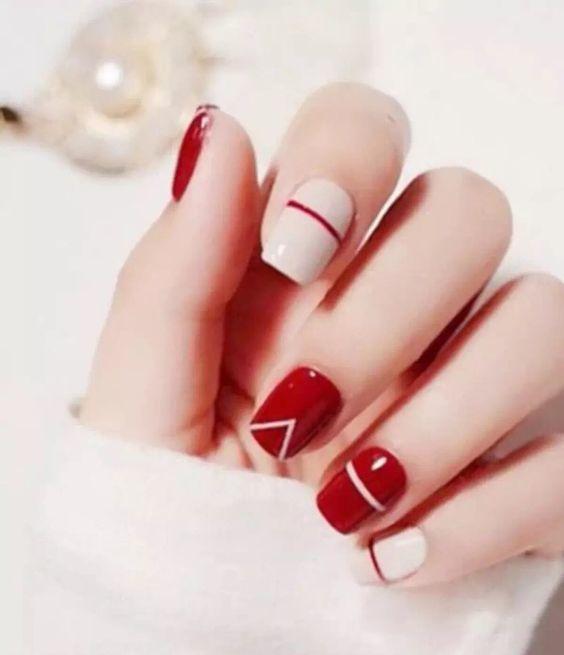 nail art design ideas gel polish acrylic red white simple and easy tutorial - สีขาว ตัดกับสีแดง Ногти Pinterest Beige Nail Art, Beige Nail
