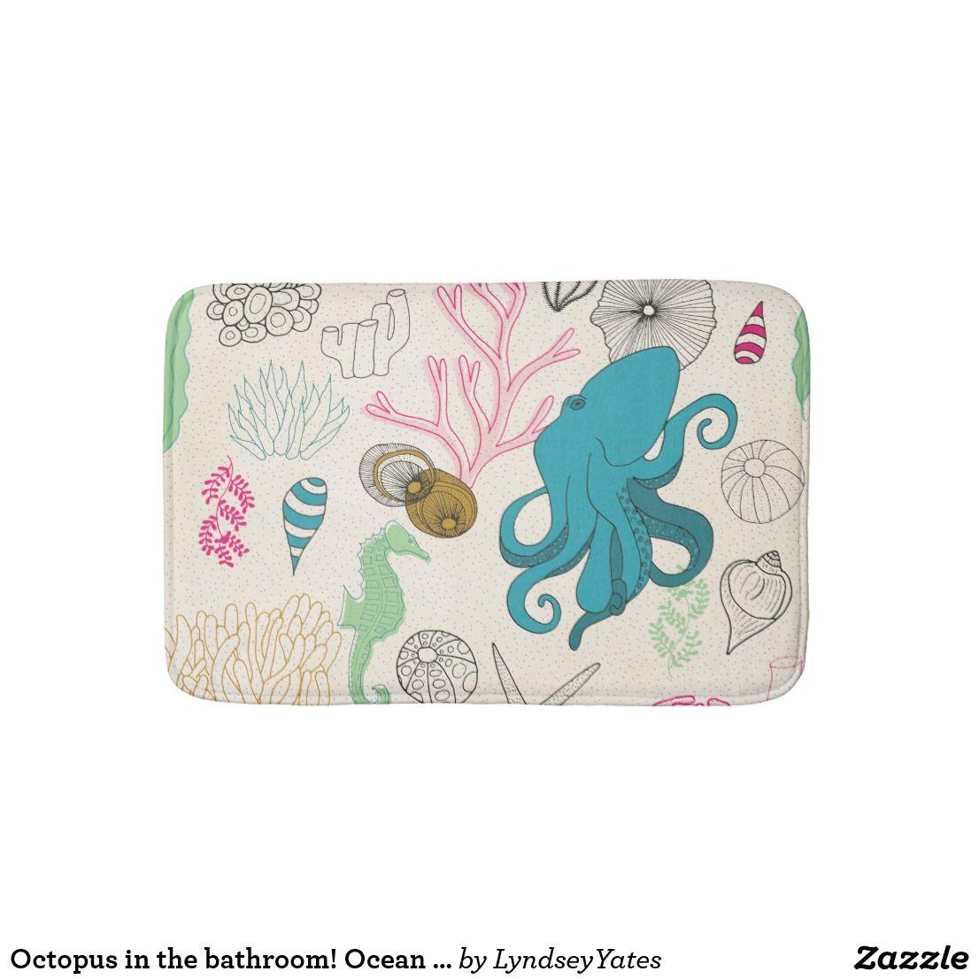 Octopus In The Bathroom Ocean Themed Bathroom Bathroom Mat