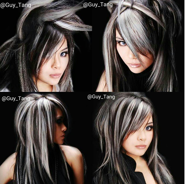 Black And White Hair Gothic Hair White Hair Highlights Gray Hair Highlights Hair Styles
