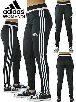 Women s Adidas Soccer Pants Tiro 15 Slim Fit Climacool Black Skinny Athletic 462586c584bd