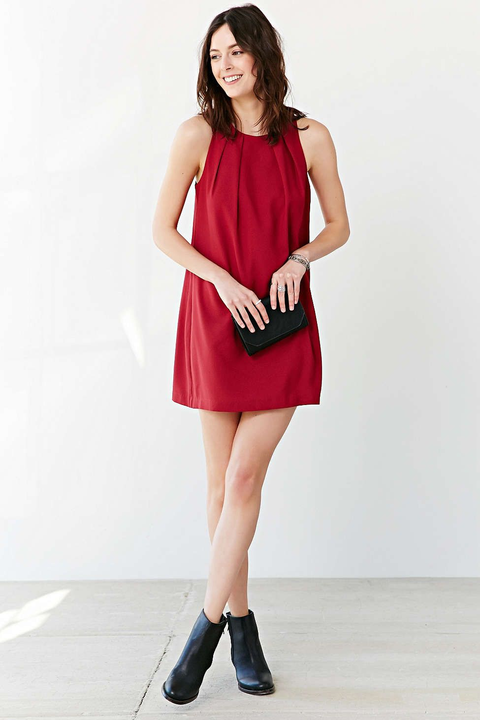 Cooperative Pleat Neck Crepe Mini Dress - Urban Outfitters