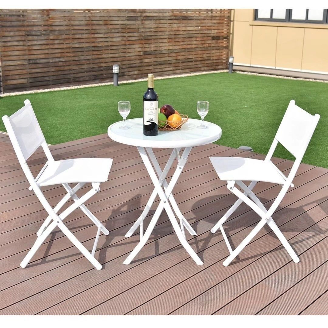pcs folding bistro table chairs set garden backyard patio