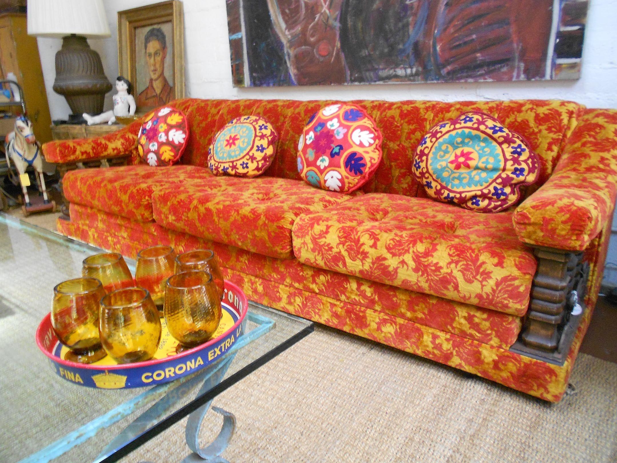 orange red brocade sofa 1960 s uzbeki pillows handblown