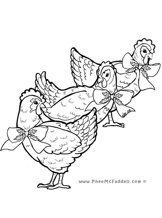 Three French Hens colouring page. www.pheemcfaddell.com ...