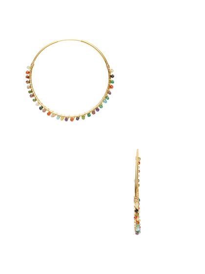 Multicolor CZ Hoop Earrings by Mary Louise Designs at Gilt