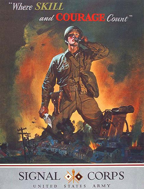 American WWII recruitment poster for the U.S. Army Signal Corps