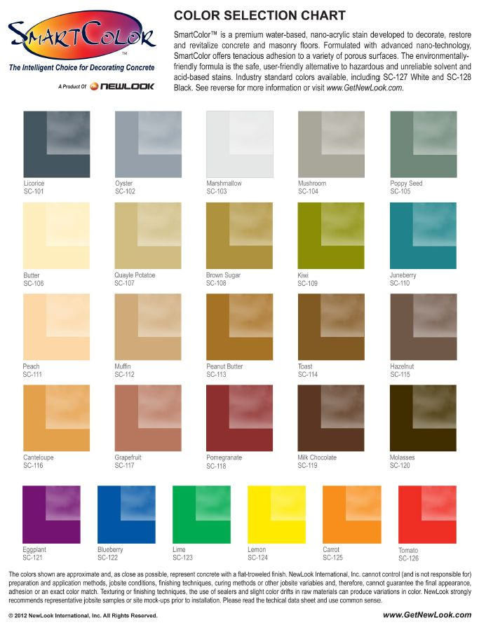 Smartcolor premium water based stains for concrete surfaces offered by newlook international also best stain color charts images on pinterest rh