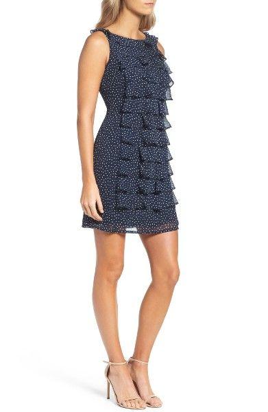 Main Image - Adrianna Papell Polka Dot Ruffle Dress
