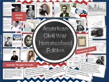 This resource is very similar to my regular American Civil War package, but it is geared more to the homeschool audience to offer them more economy. Download the preview of this package for FREE PRINTABLE resources. Included in this resource are the following:2 full pages of  vocabulary cards (and a third page that is almost full).