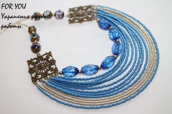 Blue multi strand beaded necklace. Blue beadwork multi layered necklace.
