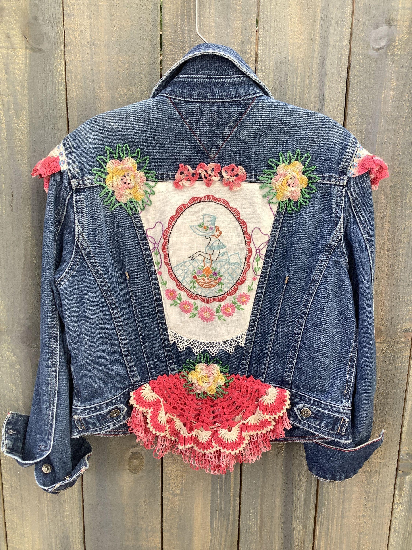 Embellished Denim Jean Jacket Boho Jacket Hippie Jacket Bohemian Jean Jacket Embroidered Embellished Denim Boho Boutique Clothing Embroidered Denim Jacket [ 3000 x 2250 Pixel ]