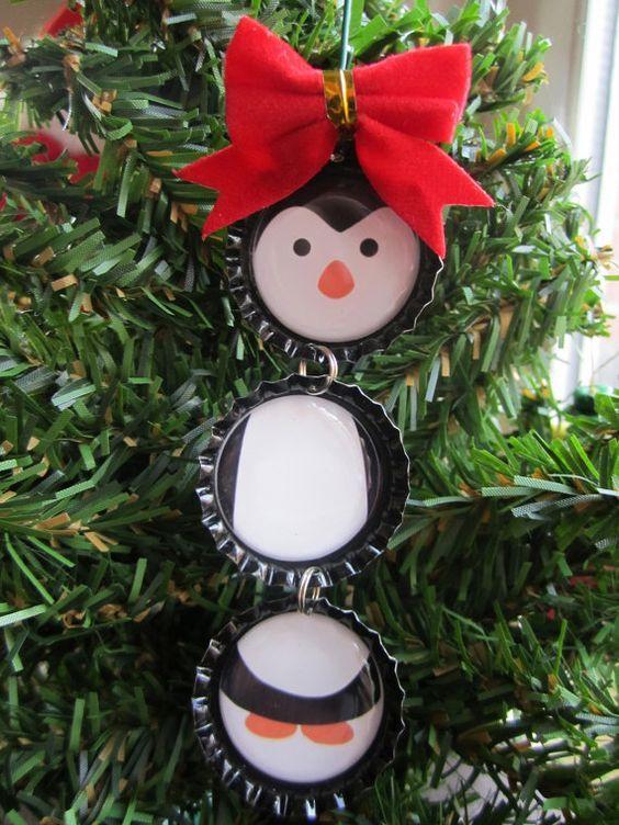Diy penguin christmas ornament using bottle caps for Diy bottle cap crafts