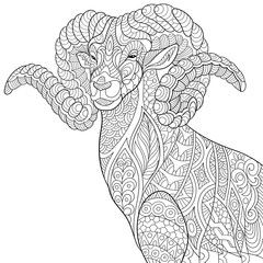 Zentangle stylized cartoon goat (ram, ibex, aries, capricorn zodiac). Hand drawn sketch for adult antistress coloring page, T-shirt emblem, logo, tattoo with doodle, zentangle, floral design elements.