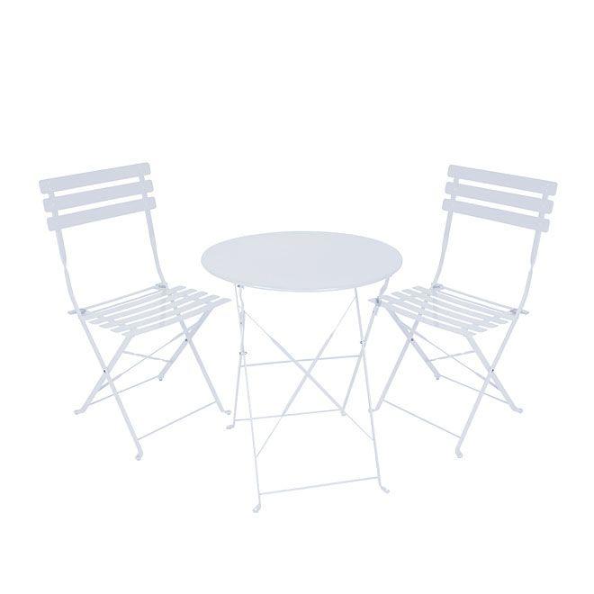 this 3 piece bistro set is perfect for small backyards and balcony cet ensemble bistro 3 morceaux est parfait pour les cours et balcons de petites