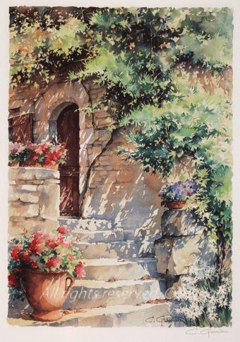buy l 39 escalier online shop art watercolours pinterest escaliers aquarelles et peinture. Black Bedroom Furniture Sets. Home Design Ideas