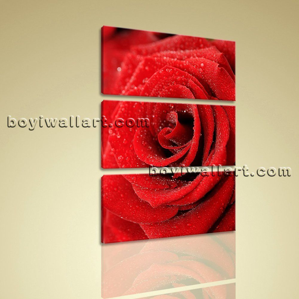 Large red rose flowers vertical wall art high quality print on