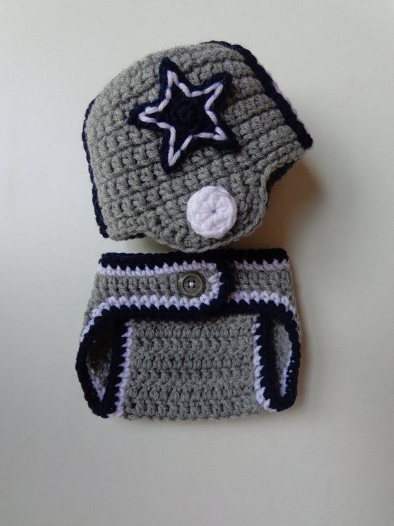 Newborn Crochet Football Dallas Cowboys Helmet and Diaper Cover- Photo  prop- gray and blue- baby boy 52bd098f97e1