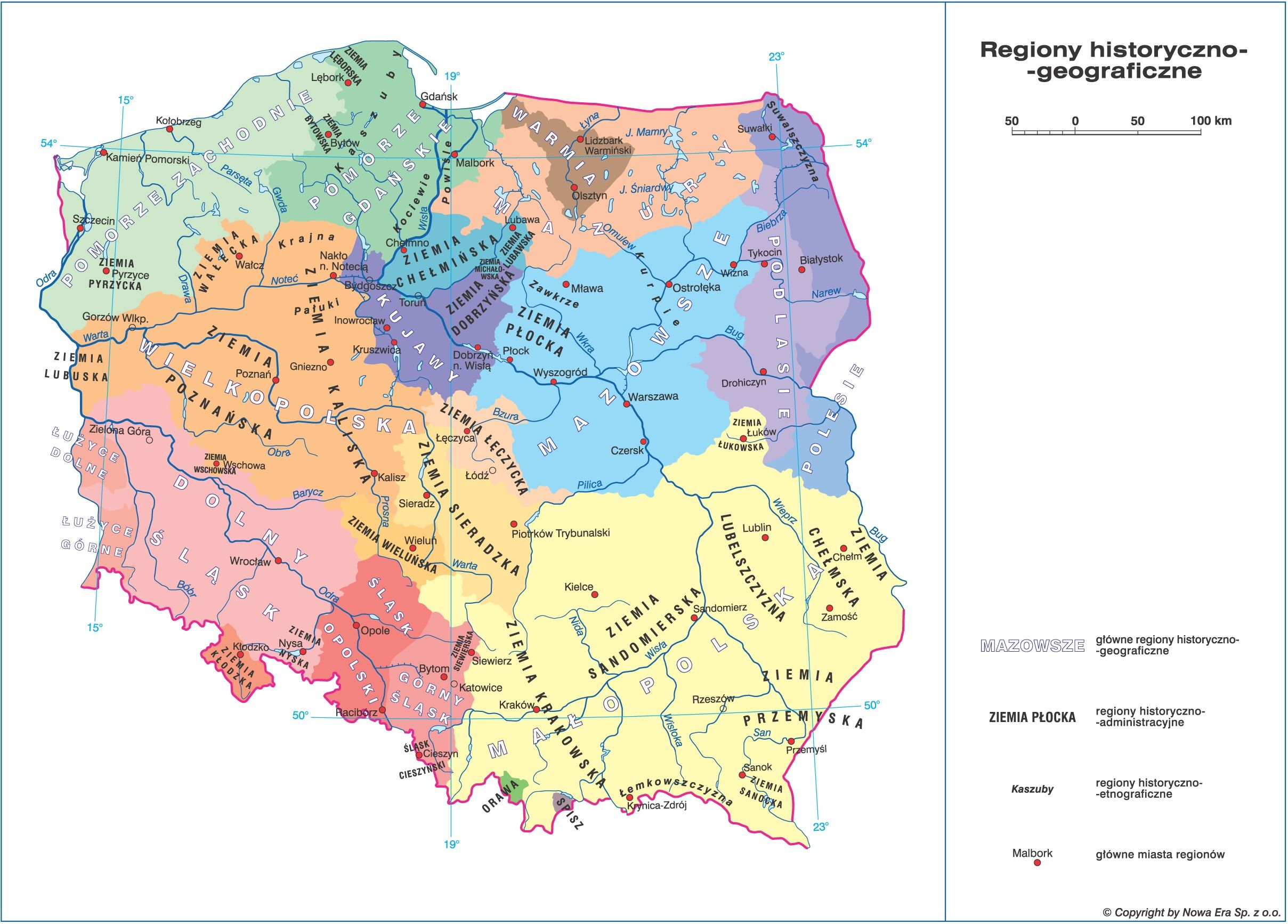 Regiony Historyczno Geograficzne Polski Kartografia Szkola Polska