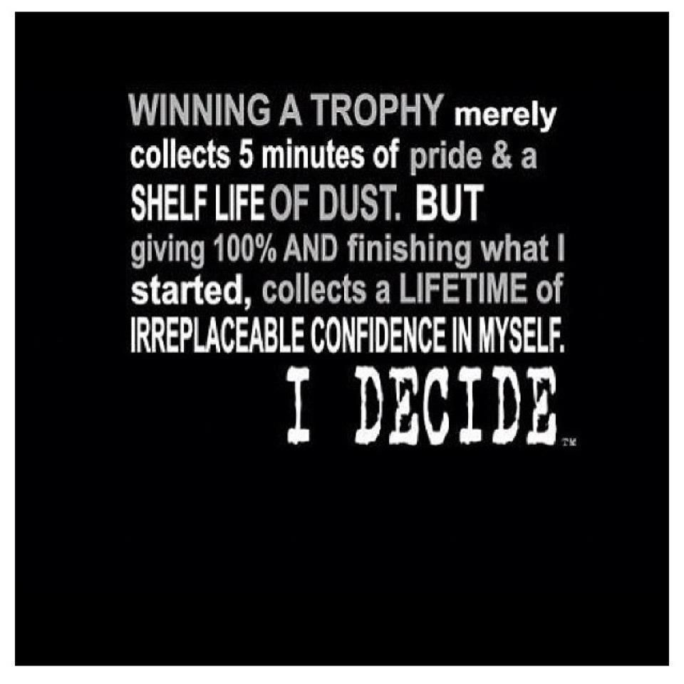 Competition Quotes Inspirational: Winning A Trophy Merely Collects