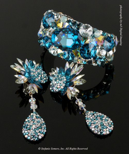 Blue Zircon  AB Cuff  Earrings  Made with Swarovski Elements, of course
