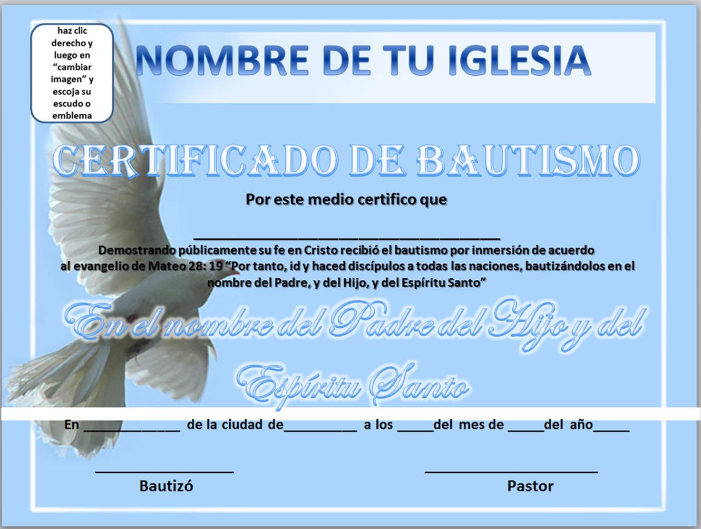 11 Ideas De Certificado Bautismo Cristiano Bautismo En Agua Presentacion De Niños