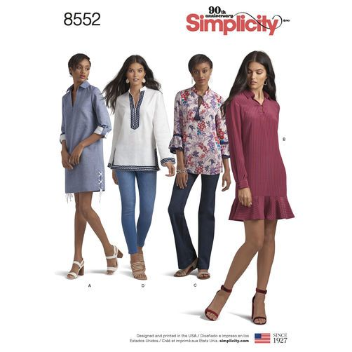 Simplicity Pattern 8552 Misses\' and Miss Petite Dress and Tunic ...