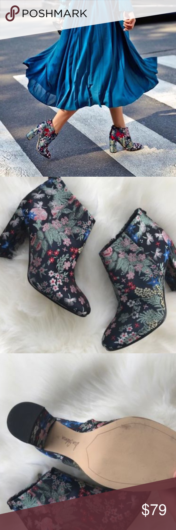 0cfa597ac4e5bc Sam EDELMAN campbell floral ankle boots Fancy booties with colorful  embroidery on upper Wrapped block heel