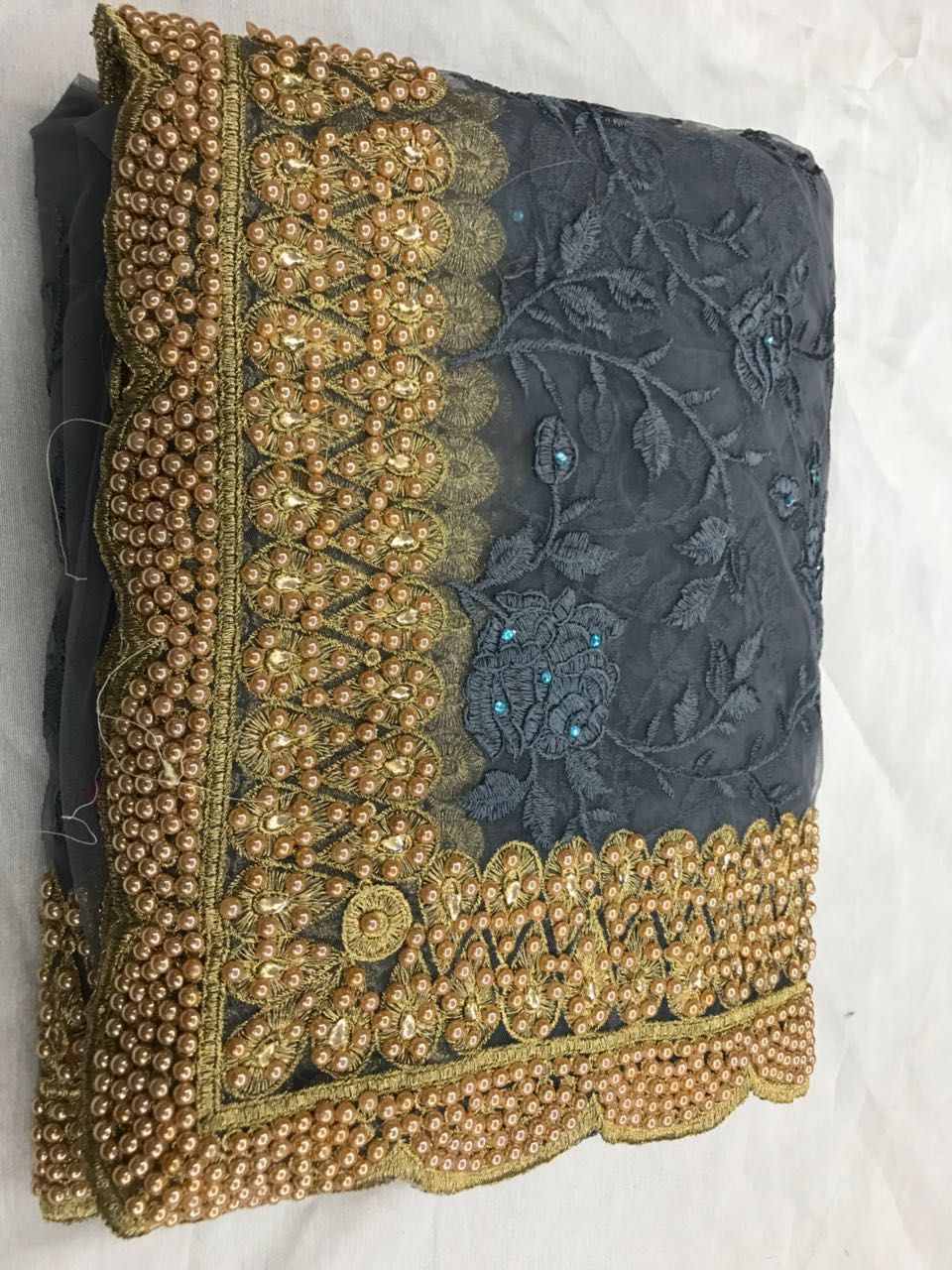 c989942e47 Heavy Nylon Mono Net saree with 16000+ Ceramic stones and diamonds ...