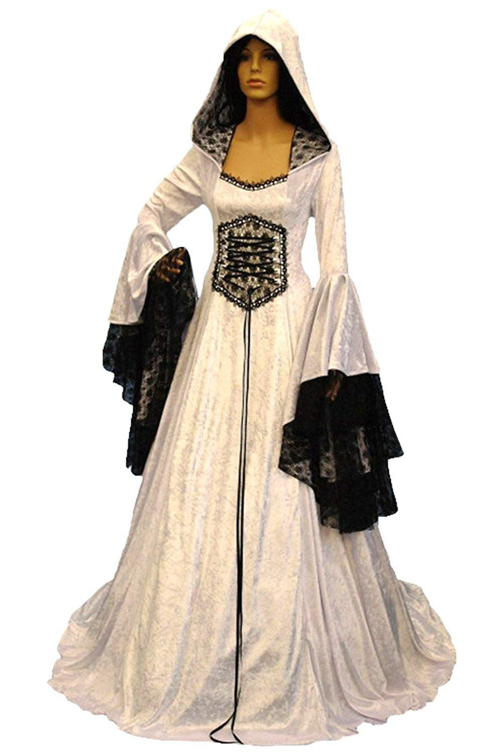 2fd711e0bb Medieval Women s White Crushed Velvet Hooded Black Lace Trim Trumpet  Sleeves Costume Gown - DeluxeAdultCostumes.com