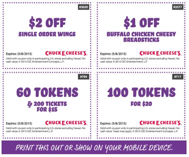 Chuck E Cheese's Menu